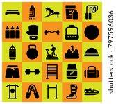 fitness icon set vector.... | Shutterstock .eps vector #797596036