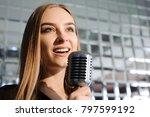 beautiful singing girl. beauty... | Shutterstock . vector #797599192
