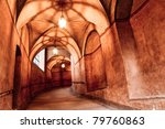historical hallway in old castle - stock photo