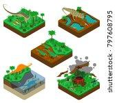 dinosaurs isometric... | Shutterstock . vector #797608795