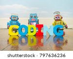 the word coding wit wooden... | Shutterstock . vector #797636236
