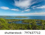 The view from a mountain at the High Coast natioanl park in Sweden. Skuleskogen national park in summer.