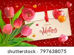 composition with bouquet of red ... | Shutterstock . vector #797638075