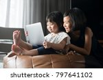 happy asian girls looking at... | Shutterstock . vector #797641102