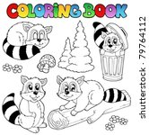 coloring book with cute racoons ... | Shutterstock .eps vector #79764112