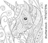 adult coloring page book a cute ... | Shutterstock .eps vector #797657596