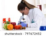 cheking food quality at... | Shutterstock . vector #797672452