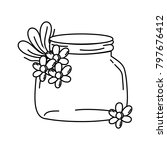 line small mason glass with... | Shutterstock .eps vector #797676412