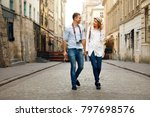 travel. tourist couple... | Shutterstock . vector #797698576