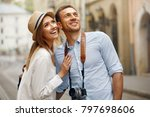 travel. couple walking on... | Shutterstock . vector #797698606