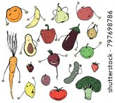 different happy vegetables... | Shutterstock .eps vector #797698786