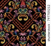 baroque striped floral... | Shutterstock .eps vector #797705212