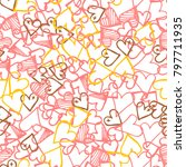 pink hearts seamless pattern.... | Shutterstock .eps vector #797711935