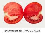 cut tomato into two halves...   Shutterstock . vector #797727136