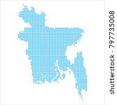 pixel mosaic blue dot map on... | Shutterstock .eps vector #797735008
