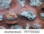 Red Painted Stone Wall With...