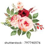 flower bouquet with red an pink ... | Shutterstock . vector #797740576