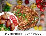 meatballs stuffed with cracked... | Shutterstock . vector #797744932