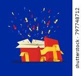 gift boxes. vector cartoon flat ...   Shutterstock .eps vector #797748712