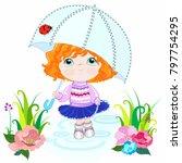 rain the girl in the pink... | Shutterstock .eps vector #797754295