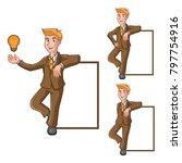 businessman leaning on box....   Shutterstock .eps vector #797754916