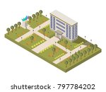 isometric university and campus ... | Shutterstock . vector #797784202