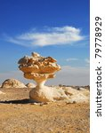 An unusual limestone formation in White Desert, Sahara, Egypt - stock photo