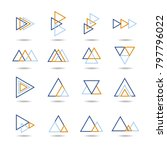 abstract triangle icon set ... | Shutterstock .eps vector #797796022