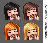 emotion icons happy female eat... | Shutterstock .eps vector #797805892