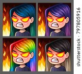 emotion icons rage female with... | Shutterstock .eps vector #797805916