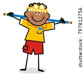 boy with headphones at gym ...   Shutterstock .eps vector #797812756