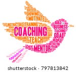 coaching word cloud on a white... | Shutterstock .eps vector #797813842