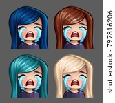 emotion icons crying female... | Shutterstock .eps vector #797816206