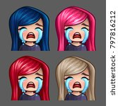 emotion icons crying female... | Shutterstock .eps vector #797816212