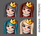 emotion icons queen female with ... | Shutterstock .eps vector #797816242