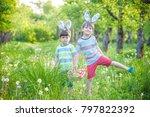 kids on easter egg hunt in... | Shutterstock . vector #797822392