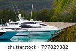 four white expensive yachts... | Shutterstock . vector #797829382