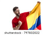 colombian male athlete fan... | Shutterstock . vector #797832022