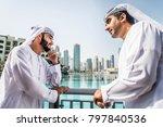 three arabic men bonding... | Shutterstock . vector #797840536