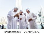 three arabic men bonding... | Shutterstock . vector #797840572