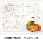 time to travel. infographics... | Shutterstock .eps vector #797843245