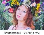 flowers. beautiful girl in a... | Shutterstock . vector #797845792