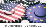 eu and usa relations concept.... | Shutterstock . vector #797855722