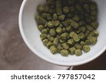 throwing the pressed green hop...   Shutterstock . vector #797857042