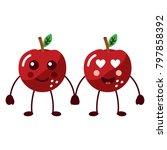 apples happy and in love fruit... | Shutterstock .eps vector #797858392