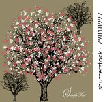 tree silhouette with white and...   Shutterstock .eps vector #79818997