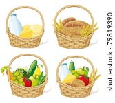 baskets with milk  cheese ... | Shutterstock .eps vector #79819390