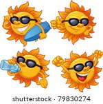 cartoon sun character ready for ...