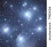 "Open cluster M45 ""The Pleiads"" in Taurus (detail) - stock photo"