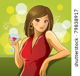 sexy woman drink wine | Shutterstock .eps vector #79838917